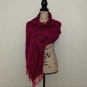 Accessories - Pink and Black Print Fringe Scarf OS